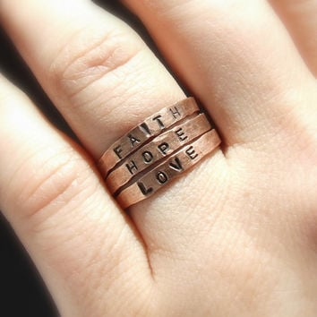 Personalized stacking ring, faith hope love jewelry, copper ring, adjustable ring, hand stamped jewelry