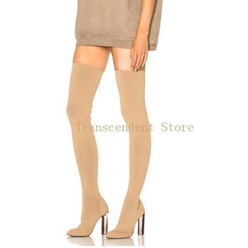 New Collection Kim Kardashion Women Thigh High Boots Sock Knit Stretch Over the Knee Boots Chunky Heels Nude Women Shoes
