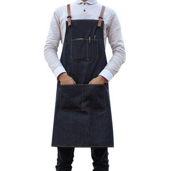 Denim Adjusted Sleeveless Cleaning Apron