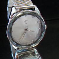Cc Silver Tone Watch Silver Face Diamond Chip Mesh Band 3 Dial Hands Diamond Cut Glass Elegant Rich