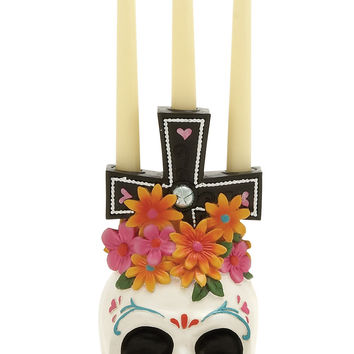 Unique Skull Floral Themed Candle Holder