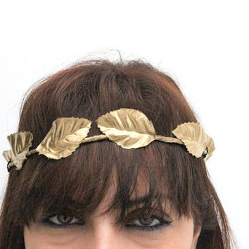 Greek FOREST CROWN - ATHENA Halo - Woodland Wreath, gold leafs, gold leaves, Flower Girls , Whimsical, Woodland Wreath, Amazon head band