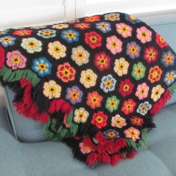 Vintage Afghan, Throw, 1950's Crochet Afghan, Flower Afghan, Throw, Reversible Throw Blanket, Mid Century, Christmas Afghan. Throw