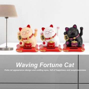 Solar Powered Cute Waving Cat Good Luck Wealth Welcoming Cats Home Display Car Decor