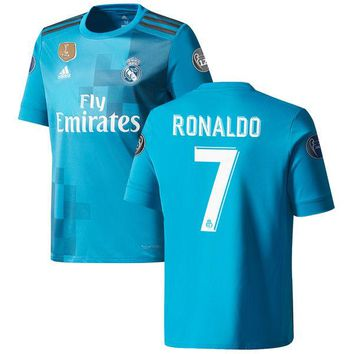 Cristiano Ronaldo Real Madrid Youth Teal 2017/18 Third Replica Jersey
