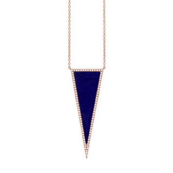 0.25ct Diamond & 2.77ct Lapis 14k Rose Gold Triangle Necklace