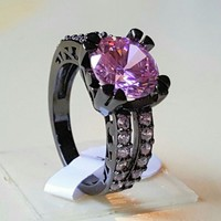 Pink Sapphire 2ct Square Princess Cut Center Stone in a Black Gold Filled Band sz 8 in Indianapolis, IN | $65