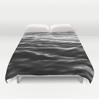 Black Waters - Duvet Cover, Beach Ocean Surf Style Bedding Throw, Boho Chic Nautical Bedroom Accent Bed Cover. In Twin Full Queen King Size