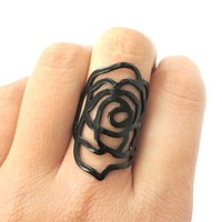 Large Rose Floral Cut Out Statement Ring in Black in Sizes 6 and 7 from DOTOLY
