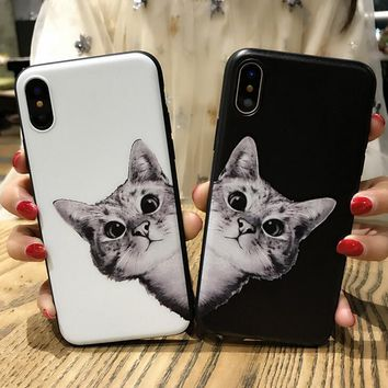 Cute Cat Pattern Case for iPhone X 8 7 6S Plus &Gift Box