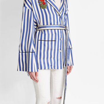 Striped Pajama Shirt - Off White | WOMEN | US STYLEBOP.COM