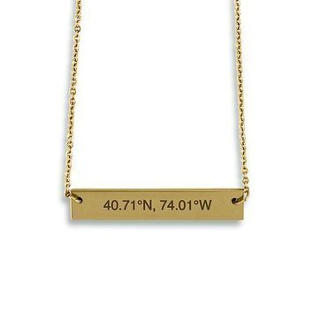 Horizontal Rectangle Tag Necklace - Coordinates (Pack of 1)