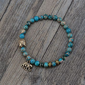 Tibetan Style Bracelet with Buddha and Elephant Beads-In Stock