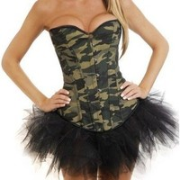 Army Camo Green Burlesque Ladies Corset Basque Skirt Fancy Dress Outfit/Costume