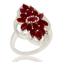 Natural Ruby and White Topaz Sterling Silver Statement Ring