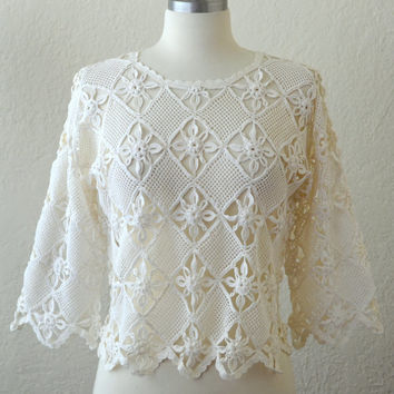 Vintage Crochet Knit Lace Floral Top / White Sheer Shirt / Wedding Boho VLV / Bridal Bridesmaid Blouse
