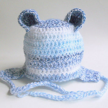 Pastel Blue And White Baby Hat Boy Fall Cap With Ears 3 To 6 Months  Infant Girl Winter Clothing With Earflaps