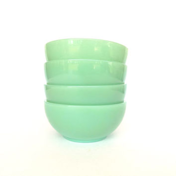 Fire-King Jadeite Restaurant Ware Cereal Bowls - Set of 4 - G291 Soup or Cereal Bowl - Anchor Hocking Breakfast Set
