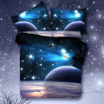 Universe Outer Space Themed Bedspread  Bed Linen Bed Sheets Duvet Cover Set
