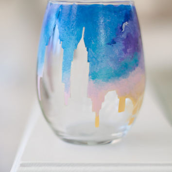 City Skyline Silhouette Wine Glass: Stemless Sunrise Sunset Wine Glass, Candle Holder, Tumbler