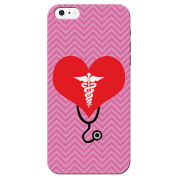 Cute Chevron Hospital Heart Stethoscope Chevron Phone Case