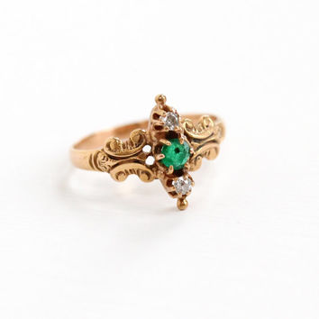 Antique 14k Rose Gold Diamond & Emerald Filigree Ring - Victorian Late 1800s Size 5 3/4 Fine Jewelry Hallmarked A Star for Allsop Bros