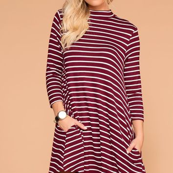 Jillian Burgundy Striped Shift Pocket Dress