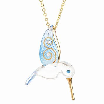 Blue Hummingbird Gold with Flower Necklace