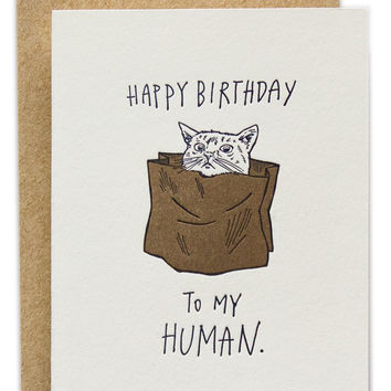 Happy Birthday To My Human Cat Card