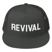 Revival Christian Hat Flat Bill Black Mesh Back Snapback Baseball Hat Revivalist Hat