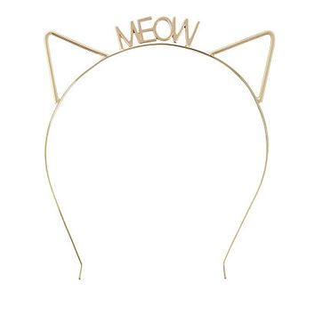 Gold Meow Cut Out Cat Ear Headband