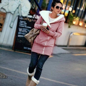 Women Casual Hoodies Jacket Coat Warm Zip Up Outerwear Overcoat Sweatshirt = 1930406404