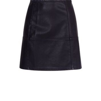 Black Leather-Look Mini Skirt | New Look
