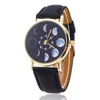Amazing Moon Phase Men or Womens Watch w/ Black Leather Bands
