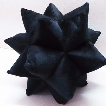 black pillow origami twinkle star pillow-nursery decor - triangle patchwork pillow-velvet cushion-fun pillow -modern home decor pillow
