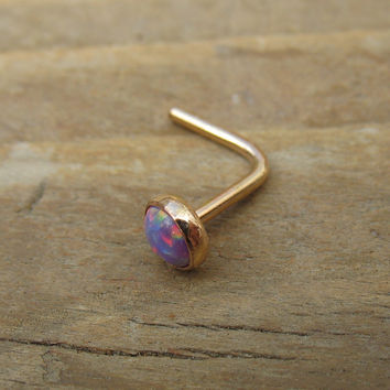Nose Stud 38 Fire Opal Gold