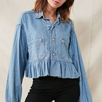 Urban Renewal Recycled Button-Down Peplum Chambray Shirt | Urban Outfitters