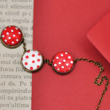 White And Red Polka Dots Pendant Necklace, Three Red Dots Pendants, Resin Jewelry