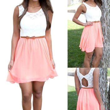 Cute Women Chiffon Waisted Summer Backless Bow Sleeveless Casual Sun Dress (pink) = 5710628161