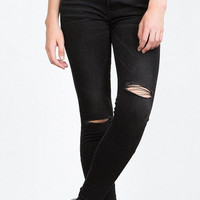High Waist Skinny Jeans with Ripped Knees