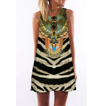 Print Round-neck Hot Sale One Piece Dress [5024200452]