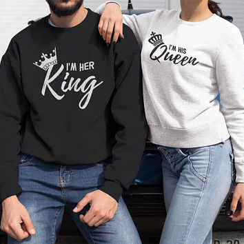 Couple Sweatshirts, King Queen, Couple Hoodies, Queen King, Couples Hoodie, Matching Hoodies, King And Queen, Couples Hoodies, King Queen.
