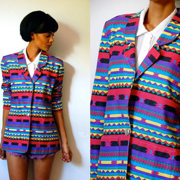Vtg Colorful Tribal Printed Button Down Denim Jacket w Pockets