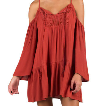 Boho Cold Shoulder Tunic Dress - Rust - Medium
