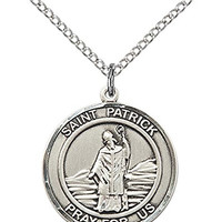 "Sterling Silver St. Patrick Pendant with 18"" Stainless Steel Lite Curb Chain. Patron Saint of Snakes/Engineers/Ireland"