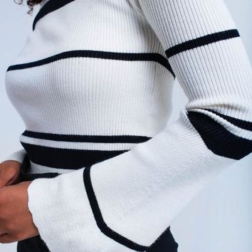 Black/White Striped Bell Sleeved Top