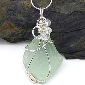 Light Green Sea Glass Necklace, Genuine Sea Glass Pendant, Sterling Silver Wire Wrapped Beach Glass Jewelry