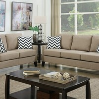 2 pc Collette III collection sand polyfiber linen like fabric upholstered modern style sofa and love seat set