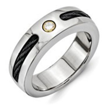 Titanium w/Black Nitinol Cable/18k Bezel set Diamond 7mm Wedding Band Ring