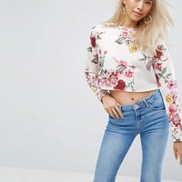 Arrive Floral Crop Sweatshirt at asos.com